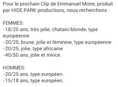 Clip Emmanuel Moire Casting Jolie Fille